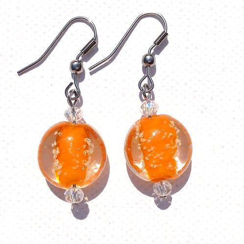 """Boucles d'oreilles palets verre """"Phospho """"orange"""
