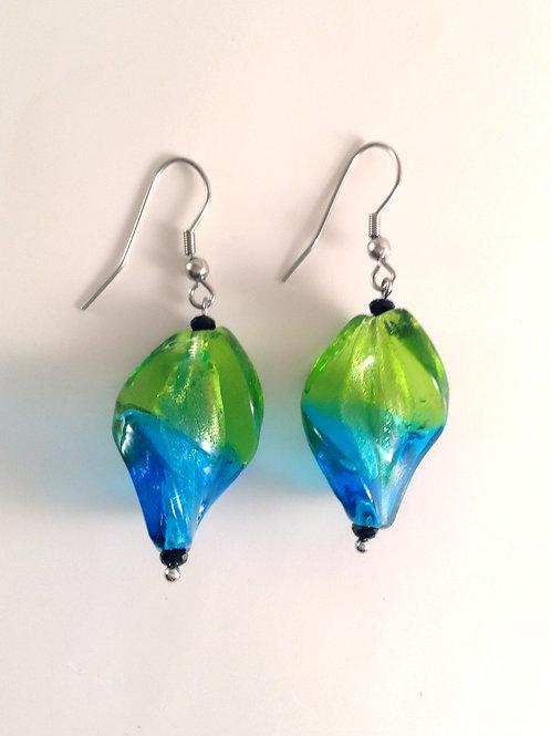 Boucles d'oreilles verre artisanal torsadé vert bleu