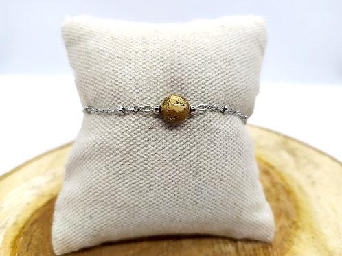 Bracelet acier inoxydable et jaspe paysage
