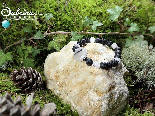 Bracelet Quartz tourmaline palet et pierre de lave