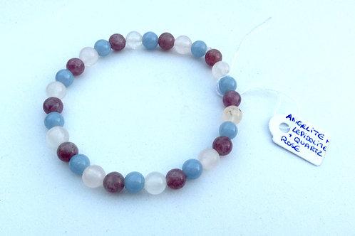 Bracelet lépidolite, quartz rose, angélite