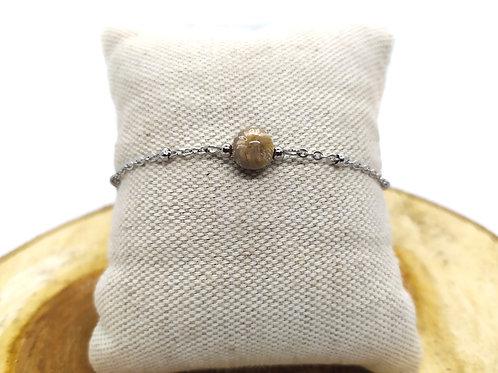 Bracelet acier inoxydable et corail fossilisé