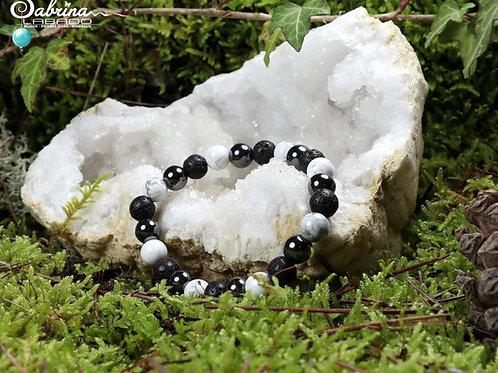 Bracelet hématite, howlite et pierre de lave