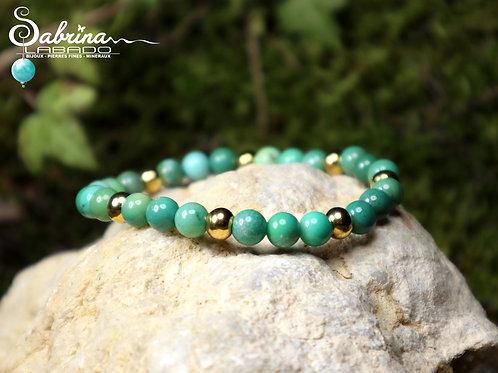 Bracelet Opale verte et acier inoxydable doré