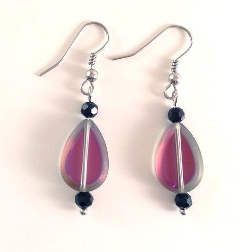 Boucles d'oreilles verre artisanal violette verte goutte et cristal
