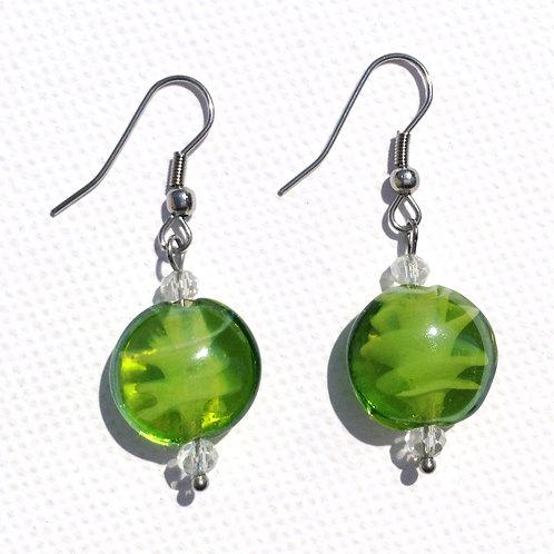 Boucles d'oreilles palet de verre artisanal vert
