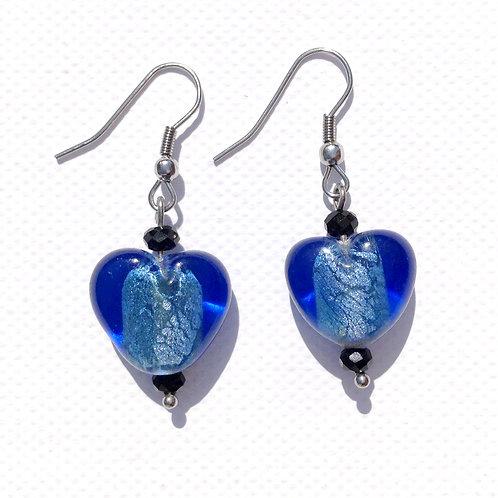 Boucles d'oreilles coeur bleu et cristal