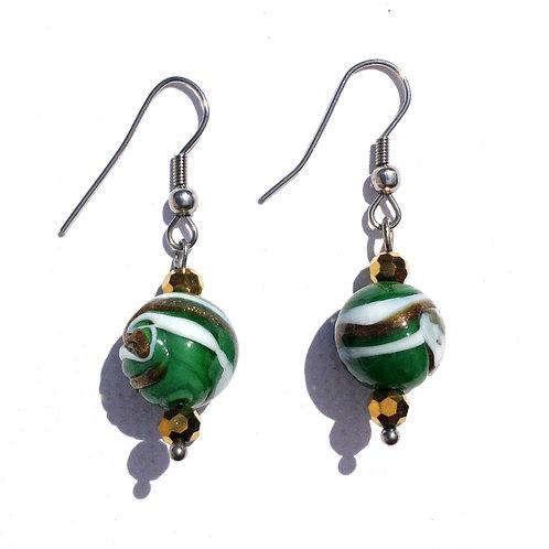 Boucles d'oreilles boule verte, bronze et blanche