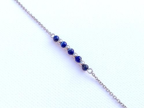 Bracelet lapis lazuli et acier inoxydable
