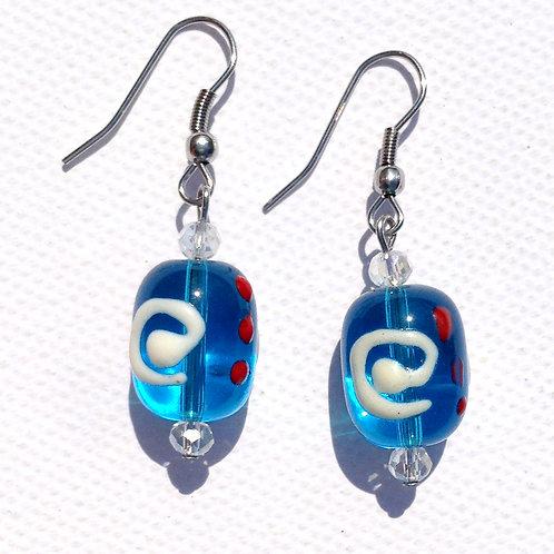 Boucles d'oreilles cylindre bleu et cristal