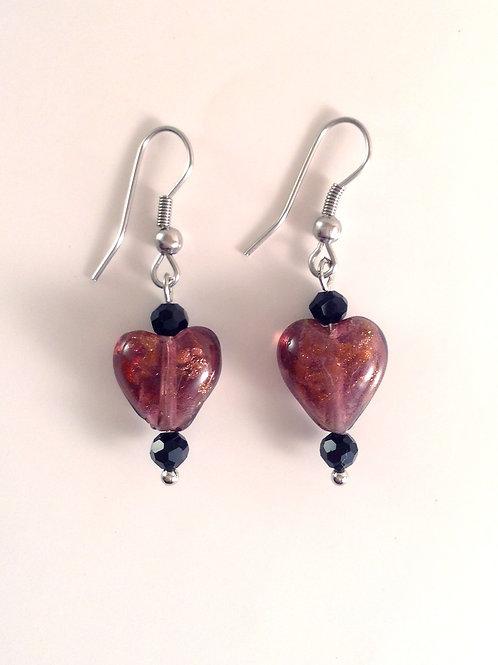Boucles d'oreilles verre artisanal coeur mauve et cristal