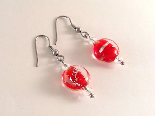 Boucles d'oreilles perles de verre artisanal rouge feuille argent
