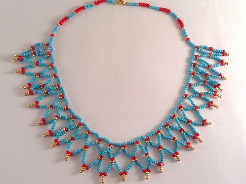"Collier dentelle en perles de rocaille ""Egyptien"""