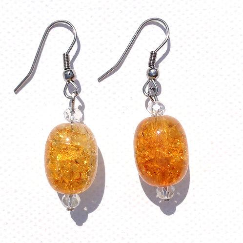 Boucle d'oreilles verre craquelé orange et cristal