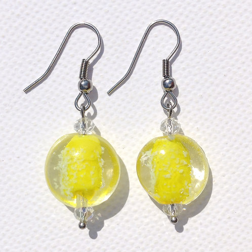 """Boucles d'oreilles palets verre """"Phospho """" jaune"""
