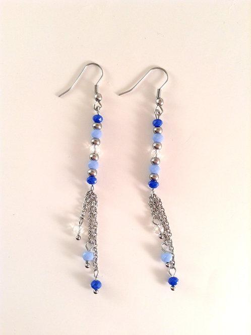 Boucles d'oreilles cristal bleu et acier