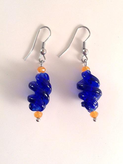 Boucles d'oreilles verre artisanal torsadé bleu et cristal
