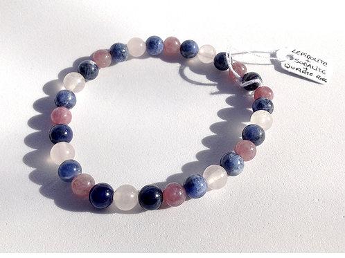 Bracelet lépidolite, sodalite et quartz rose