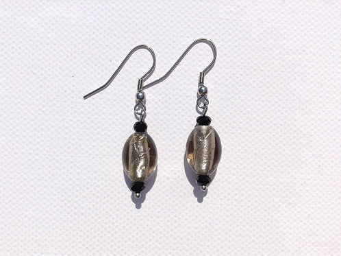 Boucles d'oreilles verre artisanal ogive grise et cristal
