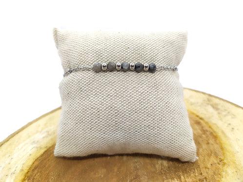 Bracelet acier inoxydable et larvikite