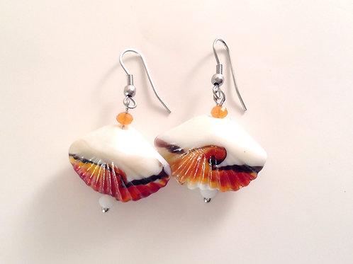 """Boucles d'oreilles verre artisanal """"coquillage"""" orange et cristal"""