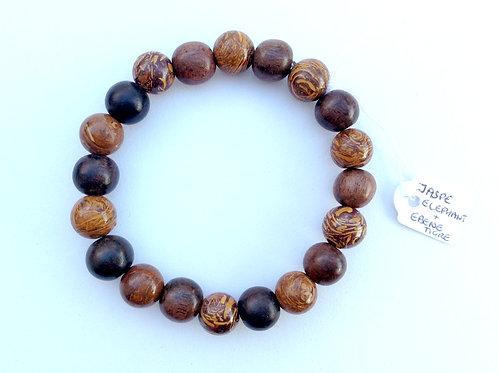Bracelet jaspe éléphant, bois d'ébene et de pangantoon