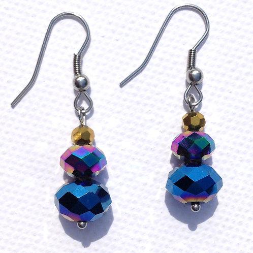 Boucles d'oreille cristal bleu, mauve, or et acier inoxydable