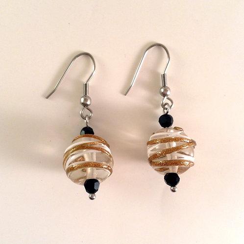 Boucles d'oreilles verre artisanal transparent, bronze et blanc