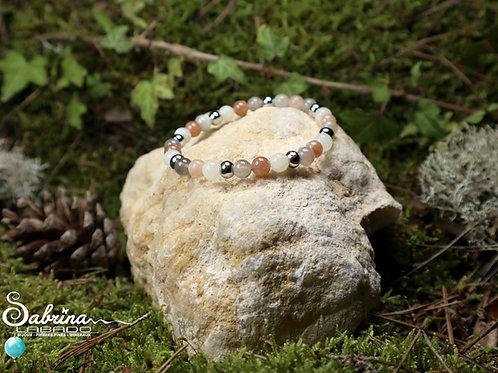 Bracelet Pierre de lune 3 couleurs et acier