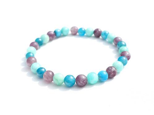 Bracelet Apatite Bleue, Amazonite et Lépidolite
