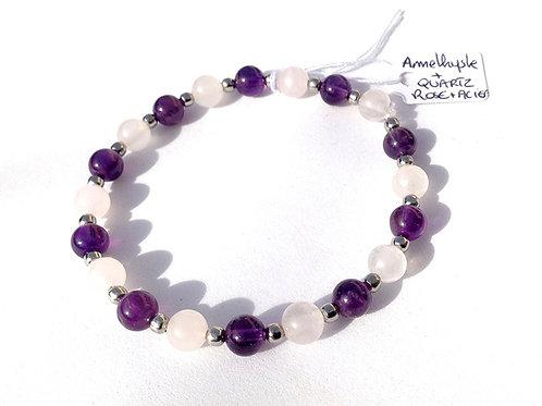 Bracelet améthyste, quartz rose et acier inoxydable