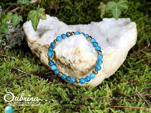 Bracelet Apatite bleue et acier dorée