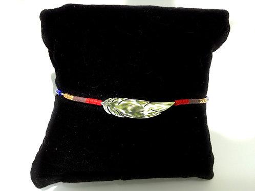 Bracelet plume acier inoxydable et rocailles