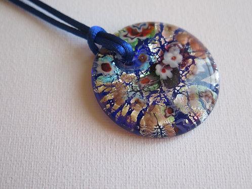 Collier pendentif Verre bleu