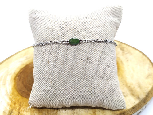 Bracelet acier inoxydable et tourmaline verte