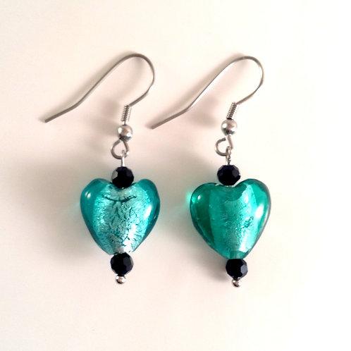 Boucles d'oreilles coeur vert et cristal