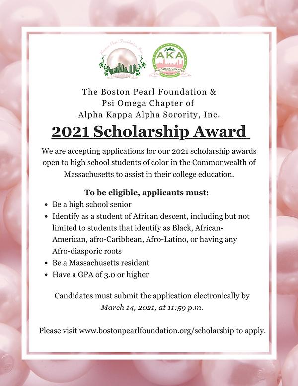 Boston pearl foundation scholarship flye