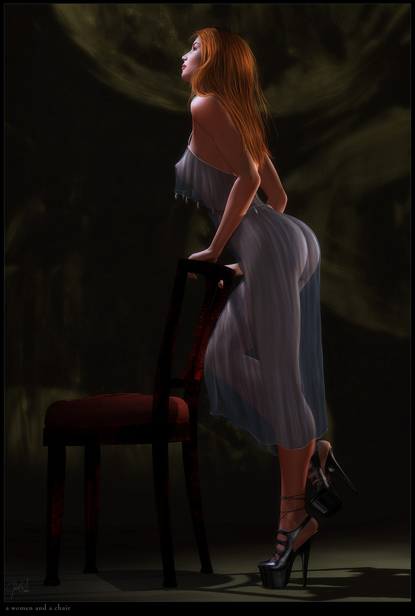 a woman and a chair