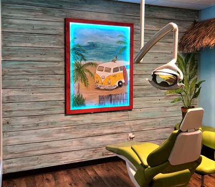 Faux wood wall with beach mural