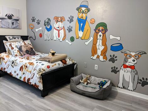 Pups in glasses mural
