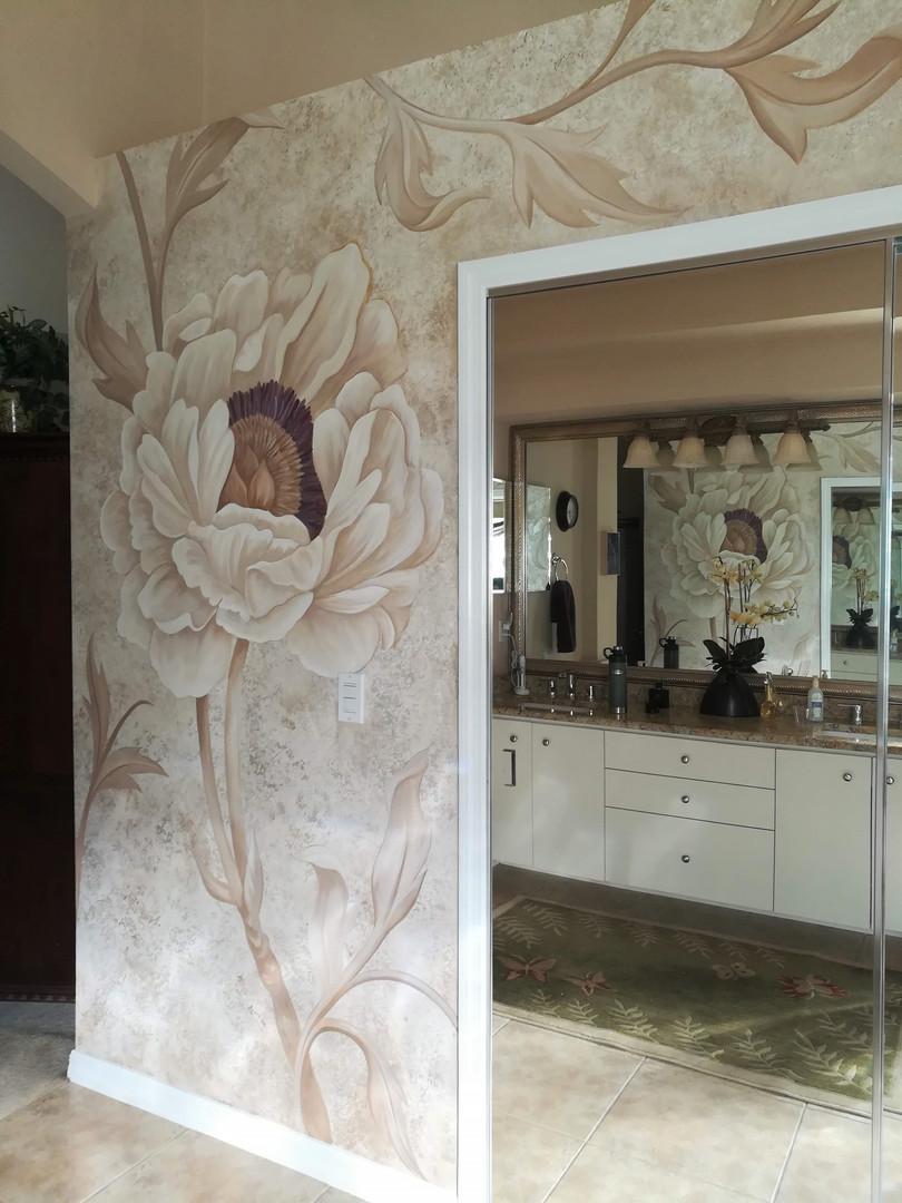 Peony bathroom mural