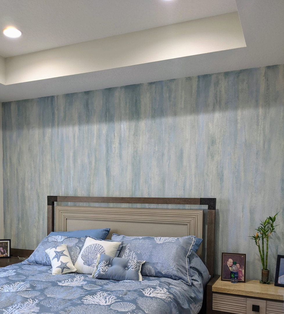 """""""waterfall"""" faux accent wall"""