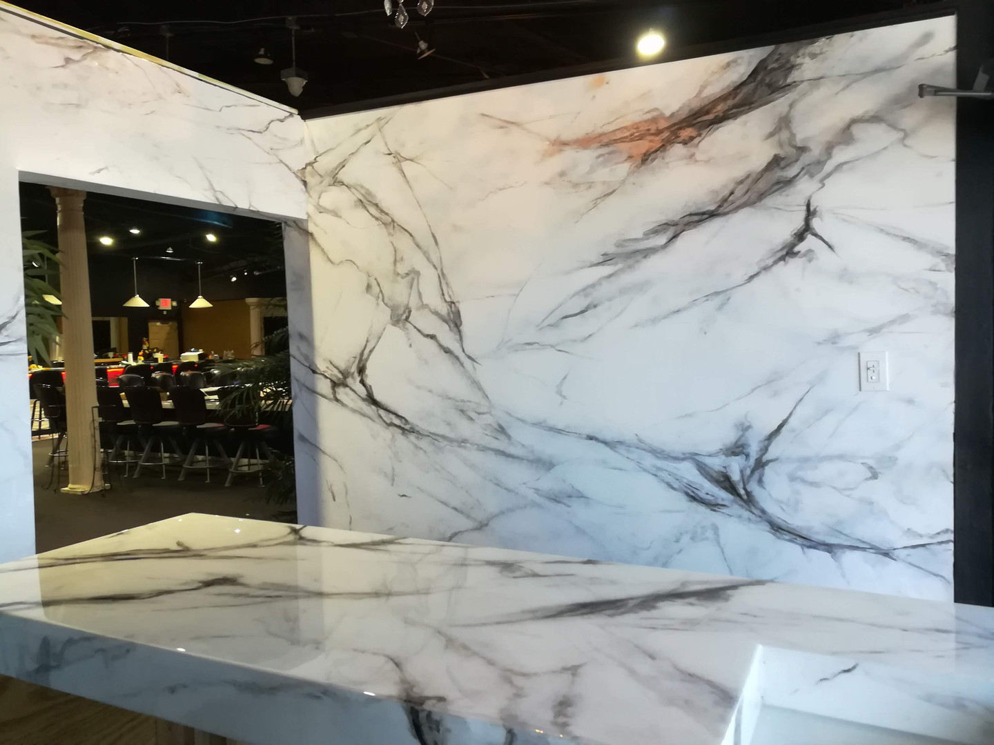 painted marble wall and countertop