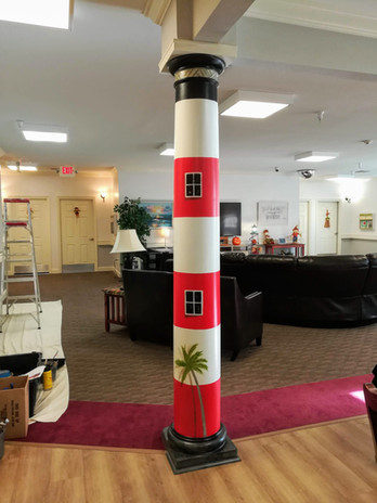 Column painted like lighthouse
