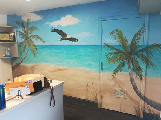 Office Beach Mural with Eagle