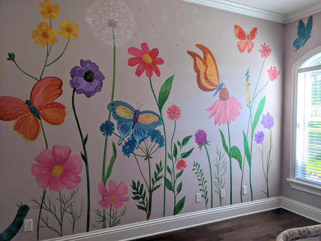 Flowers and Butterflies Mural