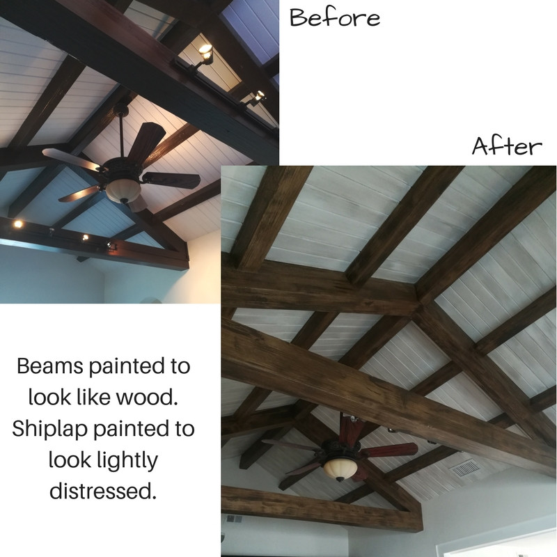 painted beam and shiplap
