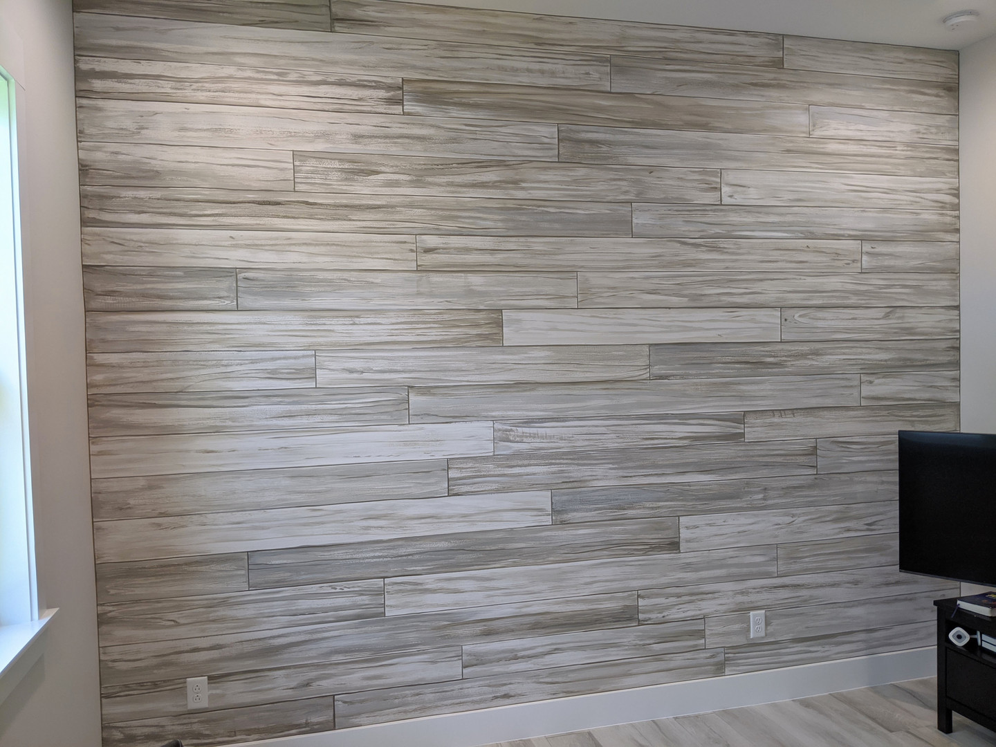Painted plank wall