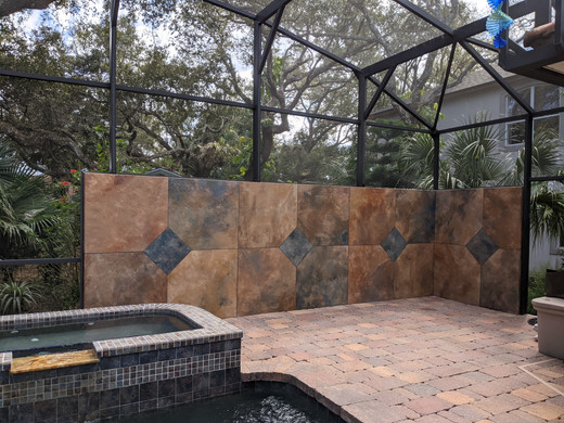 Custom Painted Faux Tile Wall