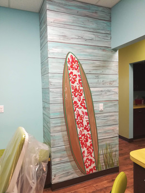 Faux wood and surfboard